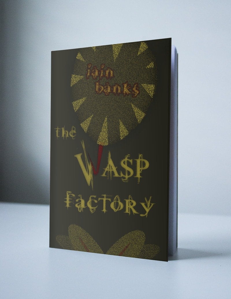 "A book cover featuring an illustration of the bottom half of a wasp. It's bright red stinger is broken and makes up half of the W in the title ""The Wasp Factory""."